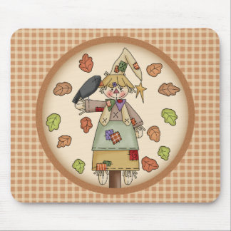 Fall Festive Scarecrow Illustration on Tan Plaid Mousepads