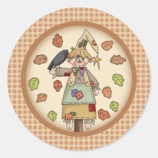 Fall Festive Scarecrow Illustration on Tan Plaid Round Sticker
