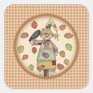Fall Festive Scarecrow Illustration on Tan Plaid Sticker