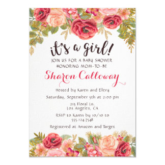 Fall Floral Girl Baby Shower Rose Invitation