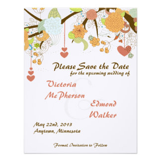 Fall Floral Save the Date Wedding Announcement