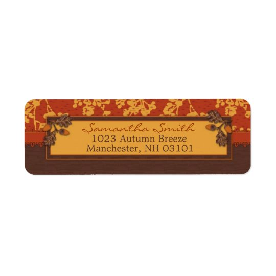 Fall Floral Stems in Warm Autumn Colour Return Address Label