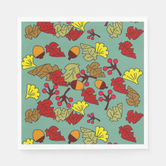 Fall Foliage, Acorns, and Berries Custom Color Paper Napkins
