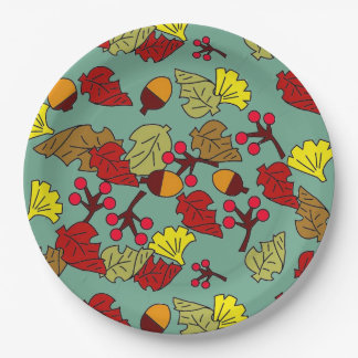 Fall Foliage, Acorns, and Berries Custom Color Paper Plate
