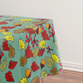 Fall Foliage, Acorns, and Berries Custom Color Tablecloth