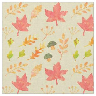Fall Foliage and Mushrooms Fabric