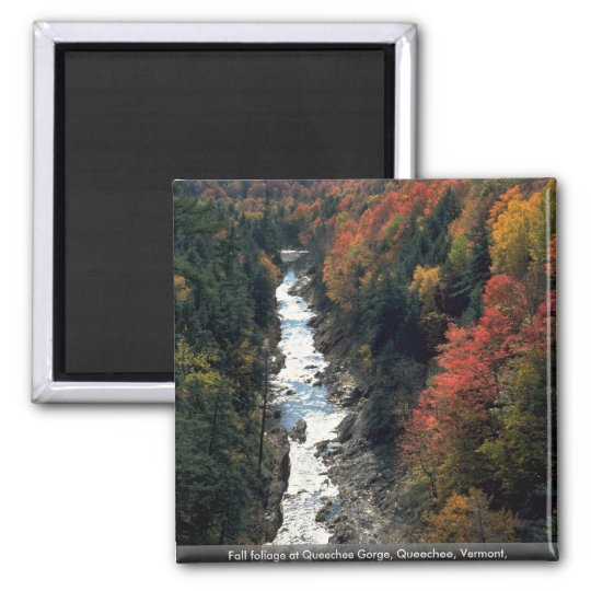 Fall foliage at Queechee Gorge, Queechee, Vermont, Square Magnet