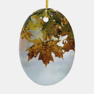 Fall Foliage Ceramic Oval Ornament