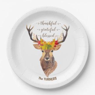 Fall Foliage Deer Head Thanksgiving Monogram Paper Plate