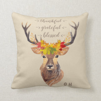 Fall Foliage Deer Head Thanksgiving Monogram Throw Pillow