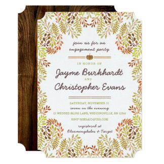Fall foliage Engagement Invitation