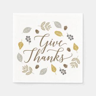 Fall Foliage Give Thanks Thanksgiving Napkins Paper Napkin