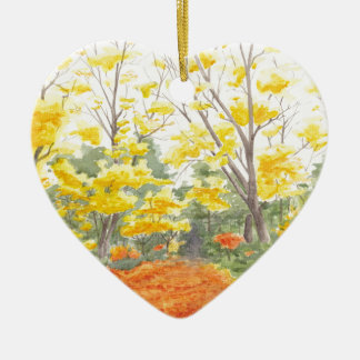 Fall Foliage in Adlershof Ceramic Heart Ornament