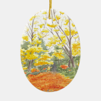 Fall Foliage in Adlershof Ceramic Oval Ornament