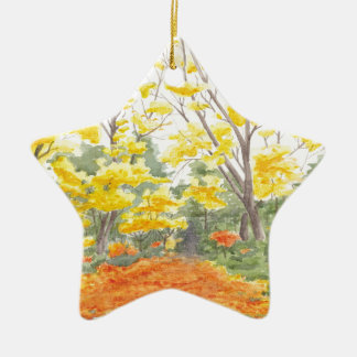 Fall Foliage in Adlershof Ceramic Star Ornament