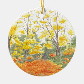 Fall Foliage in Adlershof Round Ceramic Ornament