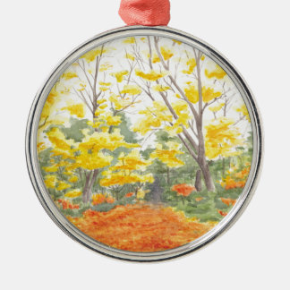 Fall Foliage in Adlershof Silver-Colored Round Ornament