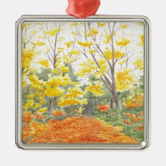 Fall Foliage in Adlershof Silver-Colored Square Ornament