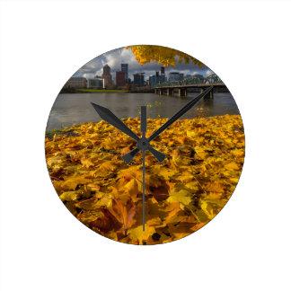 Fall Foliage in Portland Oregon City Round Clock