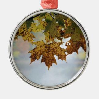 Fall Foliage Silver-Colored Round Ornament