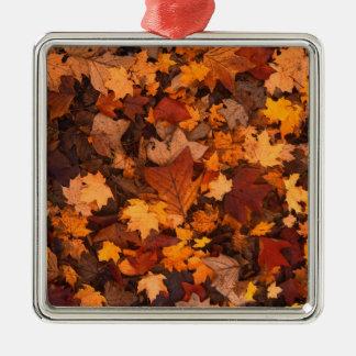 Fall-foliage Silver-Colored Square Ornament