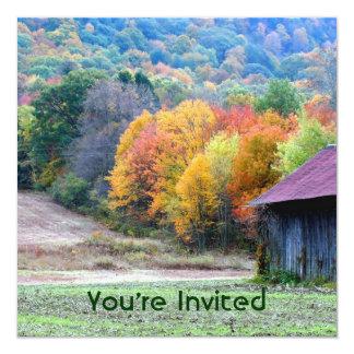 Fall Foliage Tobacco Barn Square Invitation