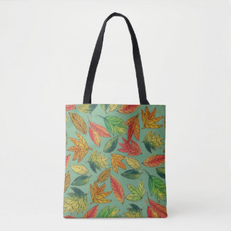 Fall Foliage Watercolor Pattern Tote