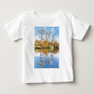 Fall forest with mirror image in water baby T-Shirt