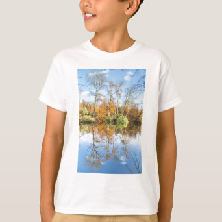 Fall forest with mirror image in water T-Shirt