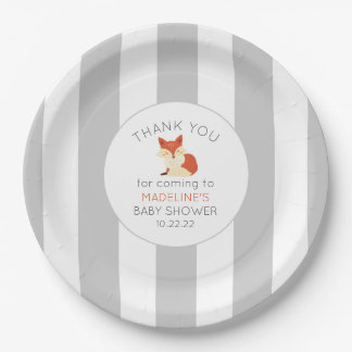 Fall Fox baby shower decor, neutral gray stripe Paper Plate