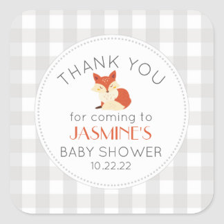 Fall Fox gingham neutral baby shower favor Square Sticker