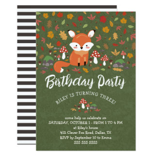 Fall Fox Kids Woodland Birthday Party Card