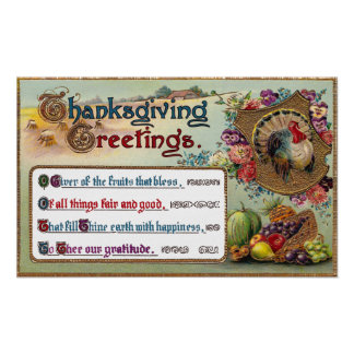 Fall Fruits and Turkey Vintage Thanksgiving Poster