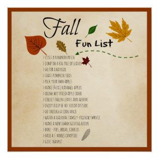 Fall Fun List Seasonal Autumn Harvest Activities Perfect Poster