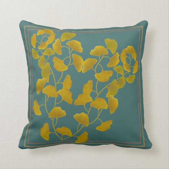 Fall Ginkgo Leaves Throw Throw Pillow