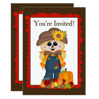 Fall Girl scarecrow add words Invitation