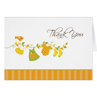 Fall Girls Baby Shower Thank You Card