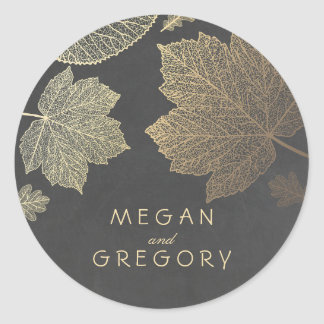 Fall Gold and Chalkboard Leaves Wedding Round Sticker