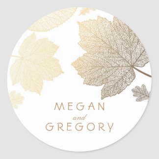 Fall Gold and White Leaves Wedding Round Sticker