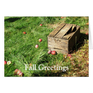 'Fall Greetings' Apple crate blank greeting cards