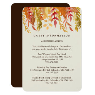 """Fall Guest Information Cards 3.5"""" X 5"""" Invitation Card"""