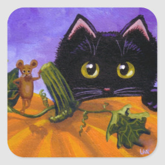 Fall Halloween Black Cat Mouse Creationarts Square Sticker