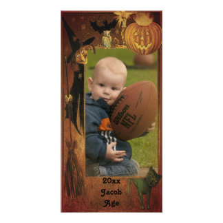 Fall Halloween Picture Frame Design Card