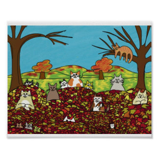 Fall Happy Cats Poster