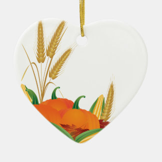 Fall Harvest Illustration Ceramic Ornament