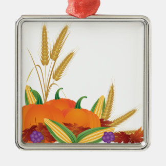 Fall Harvest Illustration Metal Ornament