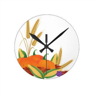 Fall Harvest Illustration Round Clock