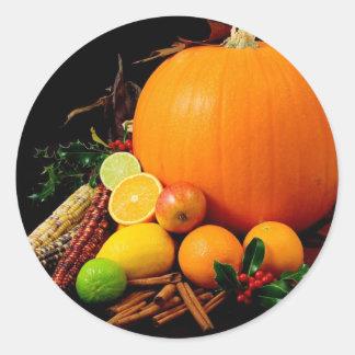 Fall Harvest Pumpkins and Maize Corn Round Sticker