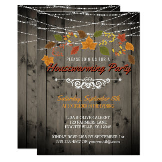 Fall Housewarming Party Rustic Wood String Lights Card