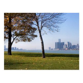 fall in detroit postcard